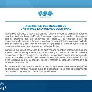 ALERTA POR USO INDEBIDO DE UNIFORMES EN ACCIONES DELICTIVAS