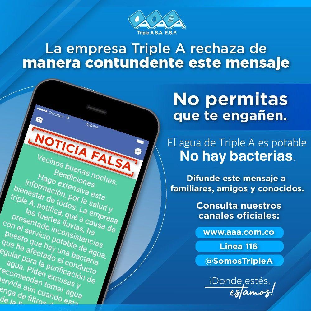 Triple A alerta y rechaza noticias falsas sobre bacteria en el agua